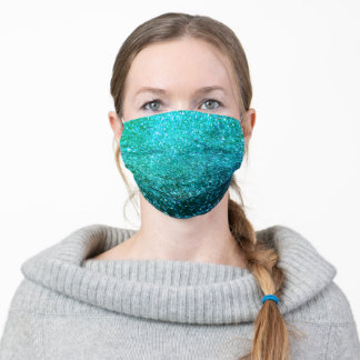 Glittery Teal Blue Green Sparkling Ocean Sea Color Adult Cloth Face Mask