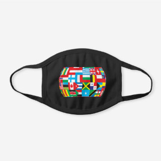 Global international flags peace world black cotton face mask