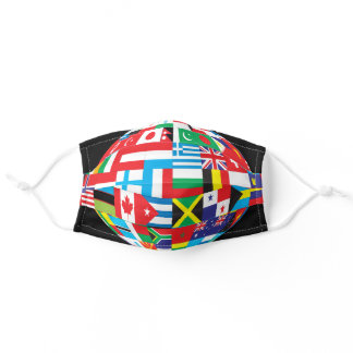 Global international flags peace world globe adult cloth face mask