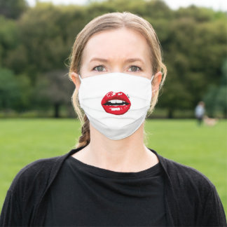 Glossy Red Lady Lips with Kiss Piercing Adult Cloth Face Mask