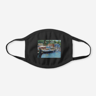Gloucester Fishing Boat Impressionistic Oil Painti Black Cotton Face Mask