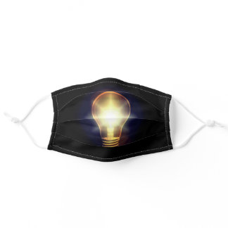 Glowing Orange Yellow Light Bulb Adult Cloth Face Mask