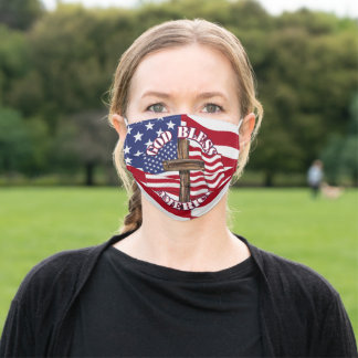 God Bless America With Cross And Flag American Fla Adult Cloth Face Mask