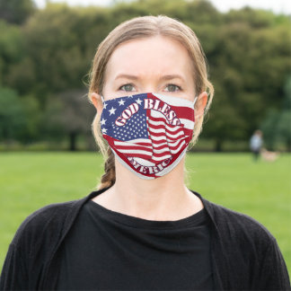 God Bless America With Flag American Flag Adult Cloth Face Mask