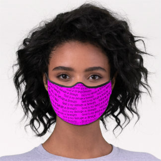 GOD REFUGE AND STRENGTH Christian Psalm 46 PINK Premium Face Mask