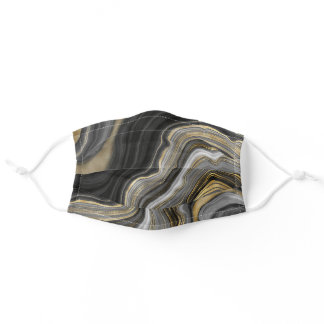 Gold And Black Agate Stone Marble Geode Modern Art Adult Cloth Face Mask