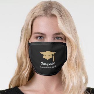Gold and Black Customizable Graduation Face Mask