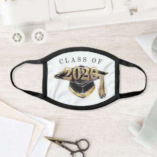 Gold and Black Elegant Class of 2020 Graduation Face Mask