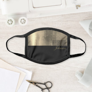 Gold and Black Modern Name Monogram Face Mask