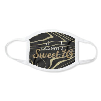 Gold and Glitter Sweet 16 Birthday Party Face Mask