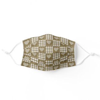 Gold and White Checkered Plaid Tartan Hearts Adult Cloth Face Mask
