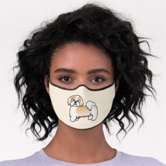 Gold And White Lhasa Apso Cartoon Dog Premium Face Mask