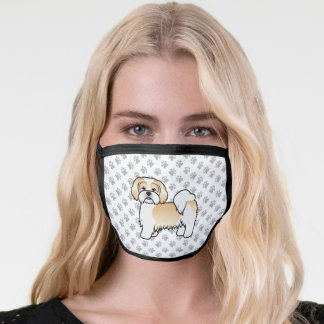 Gold And White Lhasa Apso Cute Cartoon Dog & Paws Face Mask