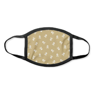 Gold and White Skull and Crossbones Pattern Face Mask
