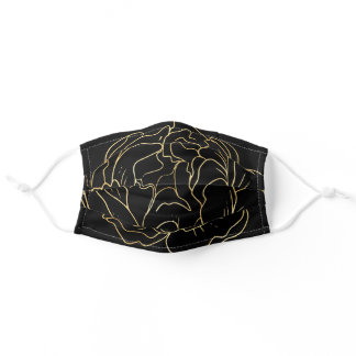 Gold black flower pattern elegant abstract chic adult cloth face mask