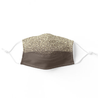 gold blush sparkle glitter ombre brown adult cloth face mask