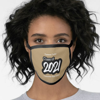Gold Bold Brush Class of 2021 Face Mask