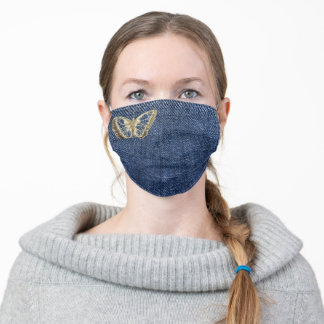 Gold Butterfly design jeans effect background Adult Cloth Face Mask