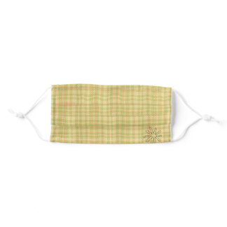 Gold Check, Corner Flower Cloth Mask With Filter