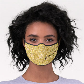 Gold Glam Glitter Script Name Premium Face Mask