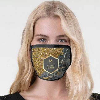 Gold Glitter Charcoal Grey Marble Monogram Name Face Mask