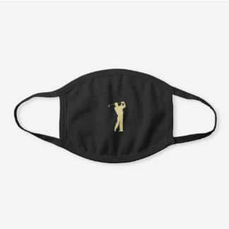 Gold Golfer Silhouette Black Cotton Face Mask