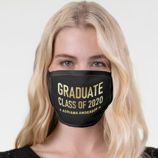 Gold Graduate Class of 2020 Personalized Name Face Mask