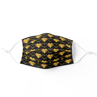 Gold Hearts on Black Adult Cloth Face Mask