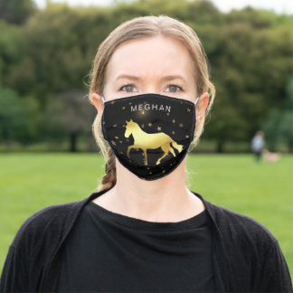 gold horse stars monogram adult cloth face mask