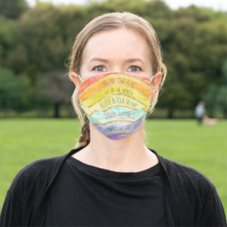 Gold Inspirational Quotes Rainbow Adult Cloth Face Mask