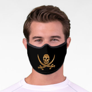 Gold Jolly Roger Adult Premium Face Mask