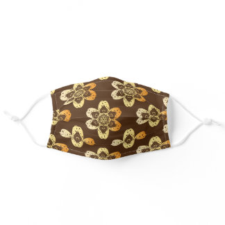 gold mandala flower pattern brown adult cloth face mask