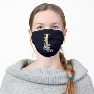 Gold Monogram Letter I Navy Blue Floral  Adult Cloth Face Mask