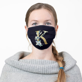 Gold Monogram Letter K Navy Blue Floral  Adult Cloth Face Mask