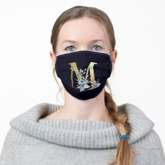 Gold Monogram Letter M Navy Blue Floral  Adult Cloth Face Mask