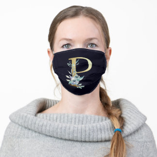 Gold Monogram Letter P Navy Blue Floral  Adult Cloth Face Mask