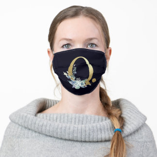 Gold Monogram Letter Q Navy Blue Floral Luxury Adult Cloth Face Mask