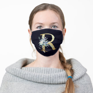 Gold Monogram Letter R Navy Blue Floral  Adult Cloth Face Mask