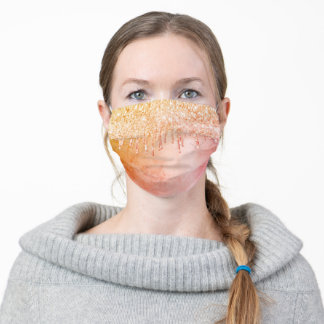 Gold pink glitter drips dripping rustic girly glam adult cloth face mask
