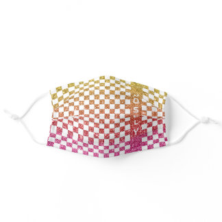 Gold Pink Glitter Girly Checkered Racing Flag Name Adult Cloth Face Mask