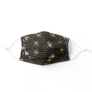 Gold Queen Bee and Honeycomb on Black Adult Cloth Face Mask