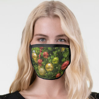 Gold Red & Green Christmas Ornaments Face Mask