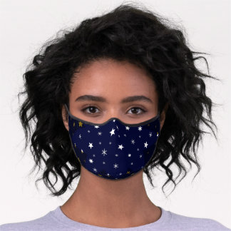 Gold Sparkly stars and white stars on blue sky Premium Face Mask