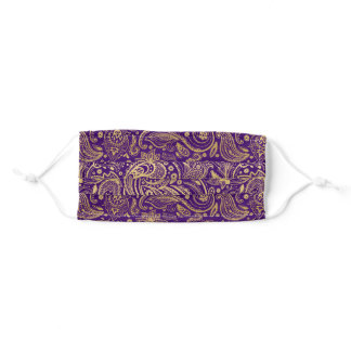 Gold tones paisley on purple adult cloth face mask