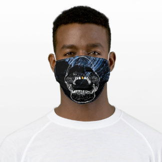 Gold Tooth White Screaming Skull Adult Cloth Face Mask
