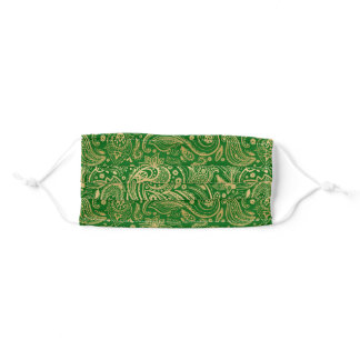 Gold vintage paisley on green background adult cloth face mask