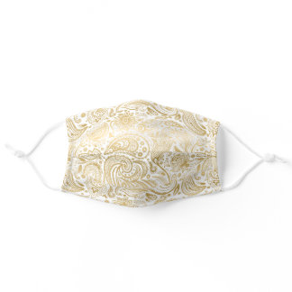 Gold vintage paisley on white background adult cloth face mask