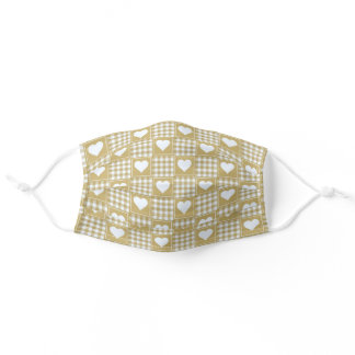 Gold White Checkered Plaid Tartan with Hearts Adult Cloth Face Mask