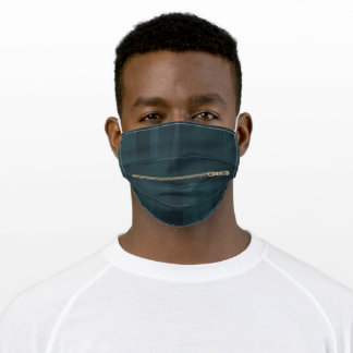 gold zipper on plaid adult cloth face mask
