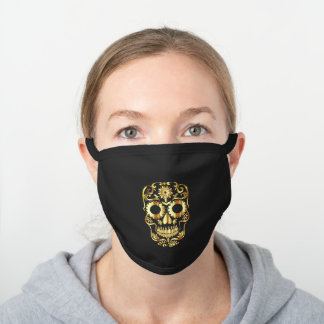 golden and black day of the dead sugar skull black cotton face mask